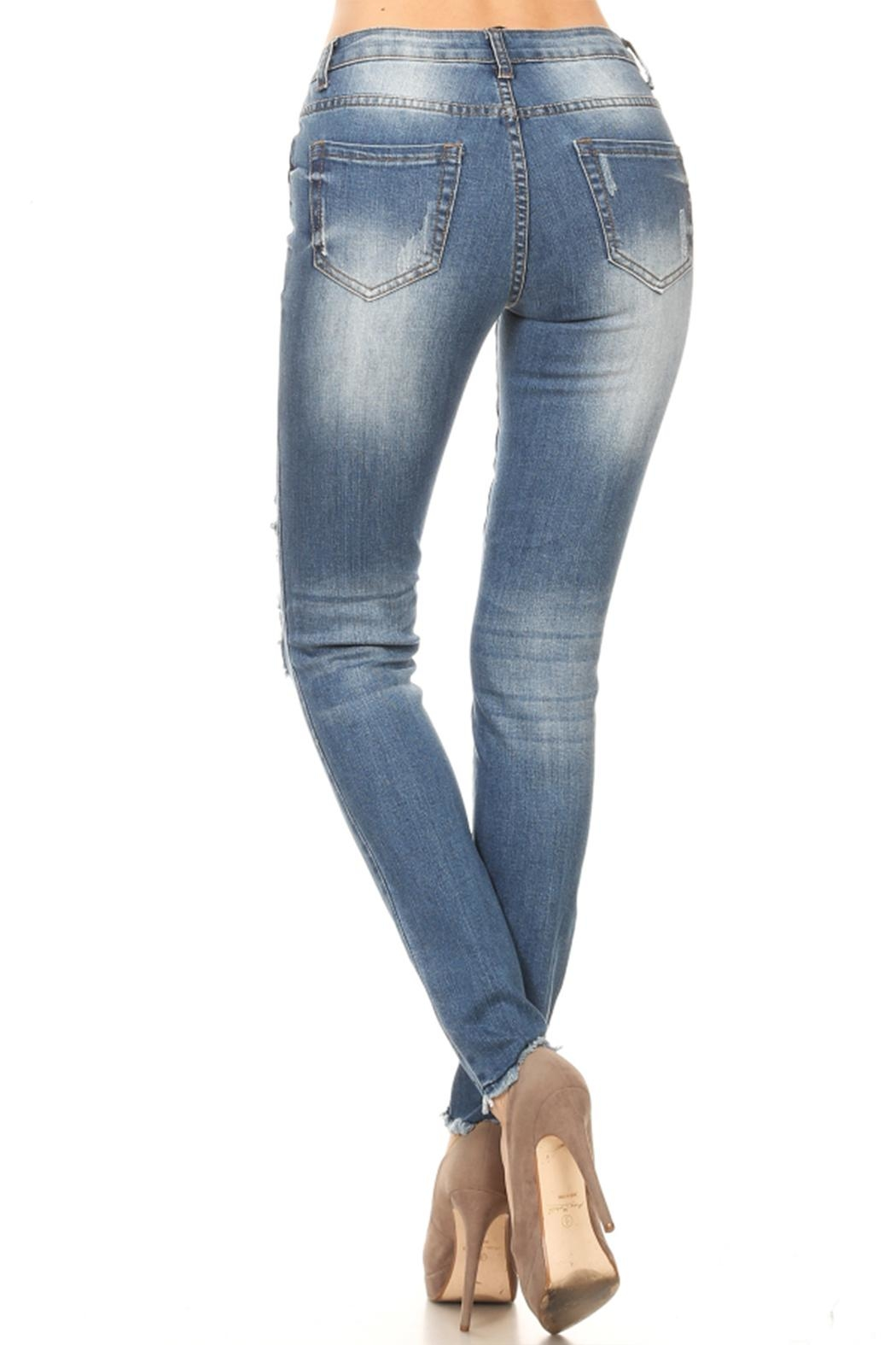 Muse Apparel Distressed Skinny Jeans - Front Full Image