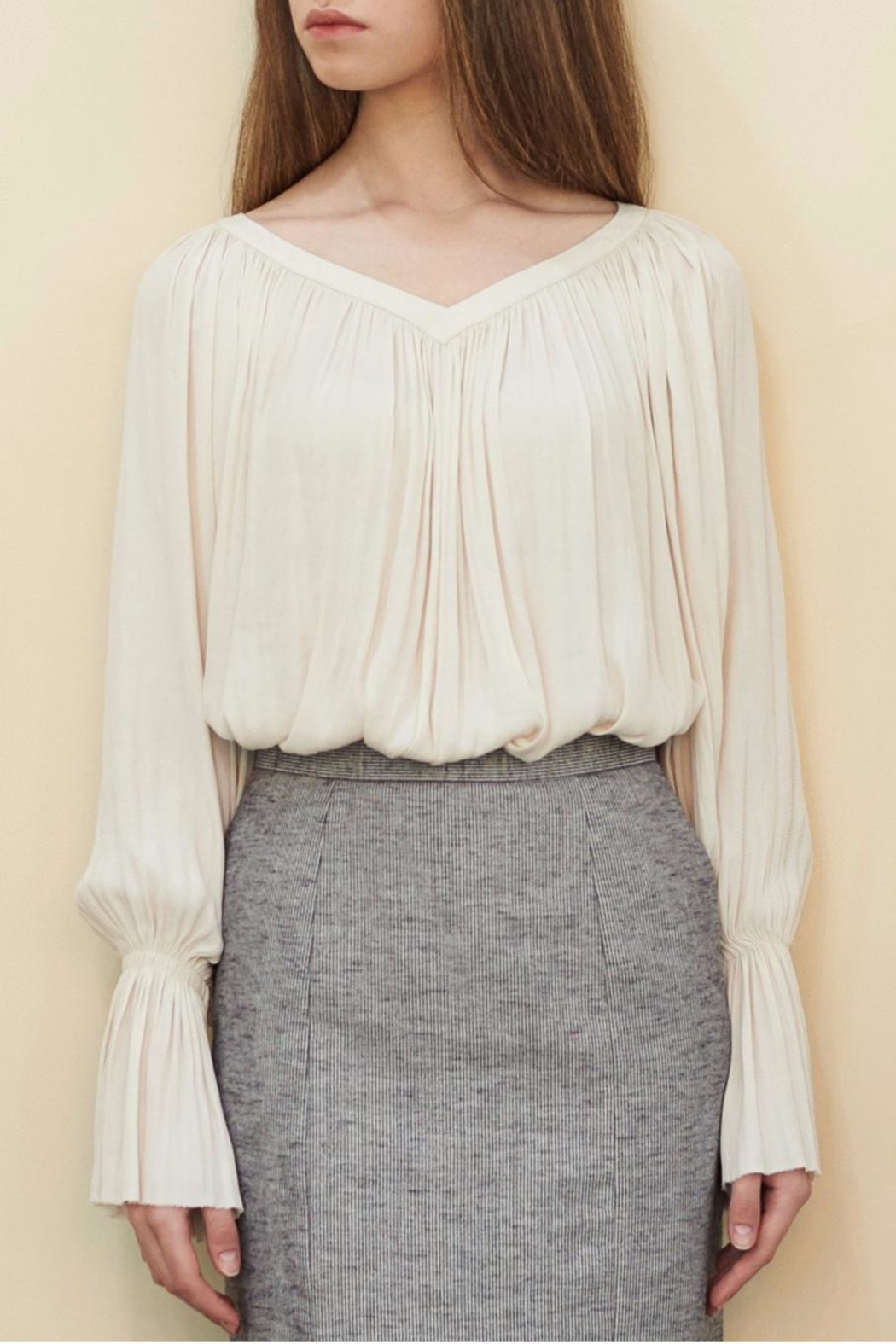 Muse by Rose Crepe Flowy Blouse - Side Cropped Image