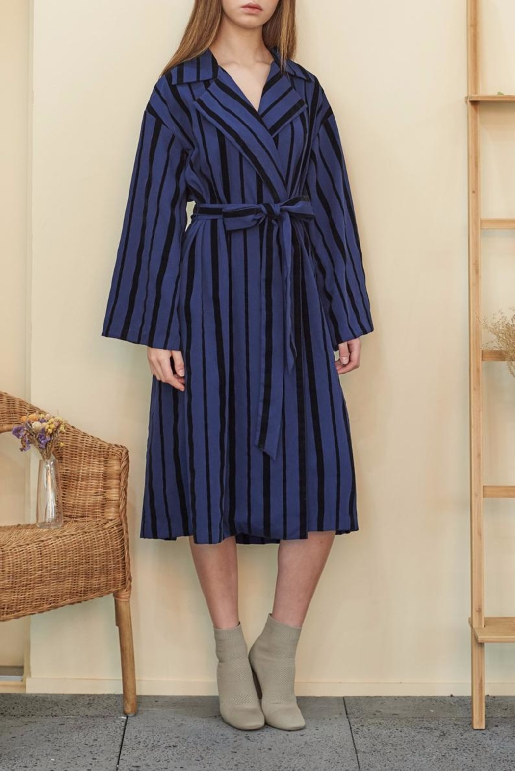 Muse by Rose Velvet Striped Trench - Main Image