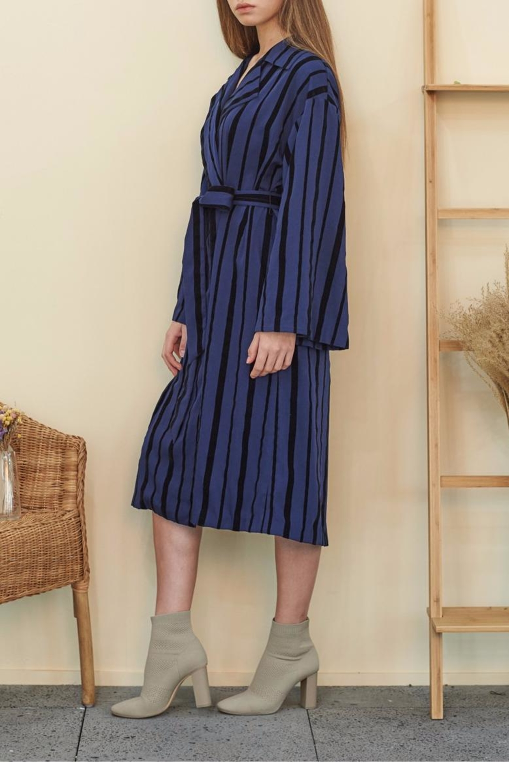 Muse by Rose Velvet Striped Trench - Front Full Image