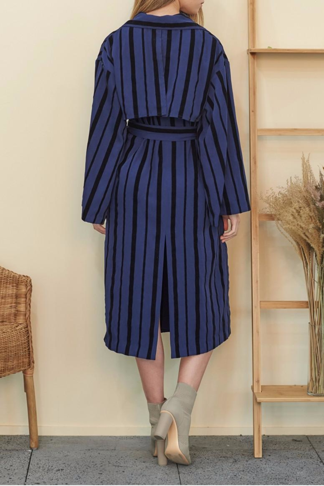 Muse by Rose Velvet Striped Trench - Side Cropped Image