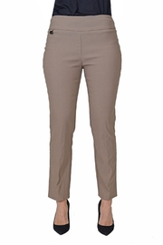 lisette L Mushroom color slim fit pant. - Front cropped
