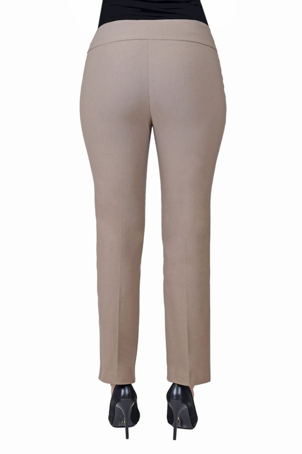 lisette L Mushroom color slim fit pant. - Front Full Image
