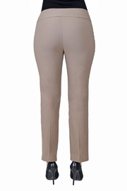 lisette L Mushroom color slim fit pant. - Front full body