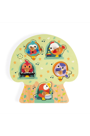 Janod Musical Puzzle Birdy Party Wooden Puzzle - Product Mini Image