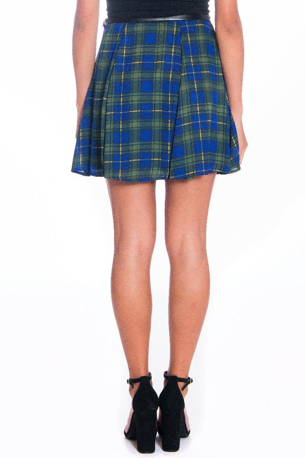 Must Have Blue-Green Plaid Skirt - Side Cropped Image