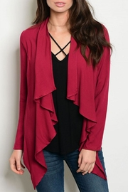 Must Have Burgundy L/s Cardigan - Front cropped