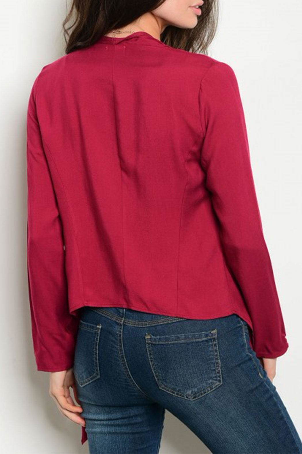 Must Have Burgundy L/s Cardigan - Front Full Image