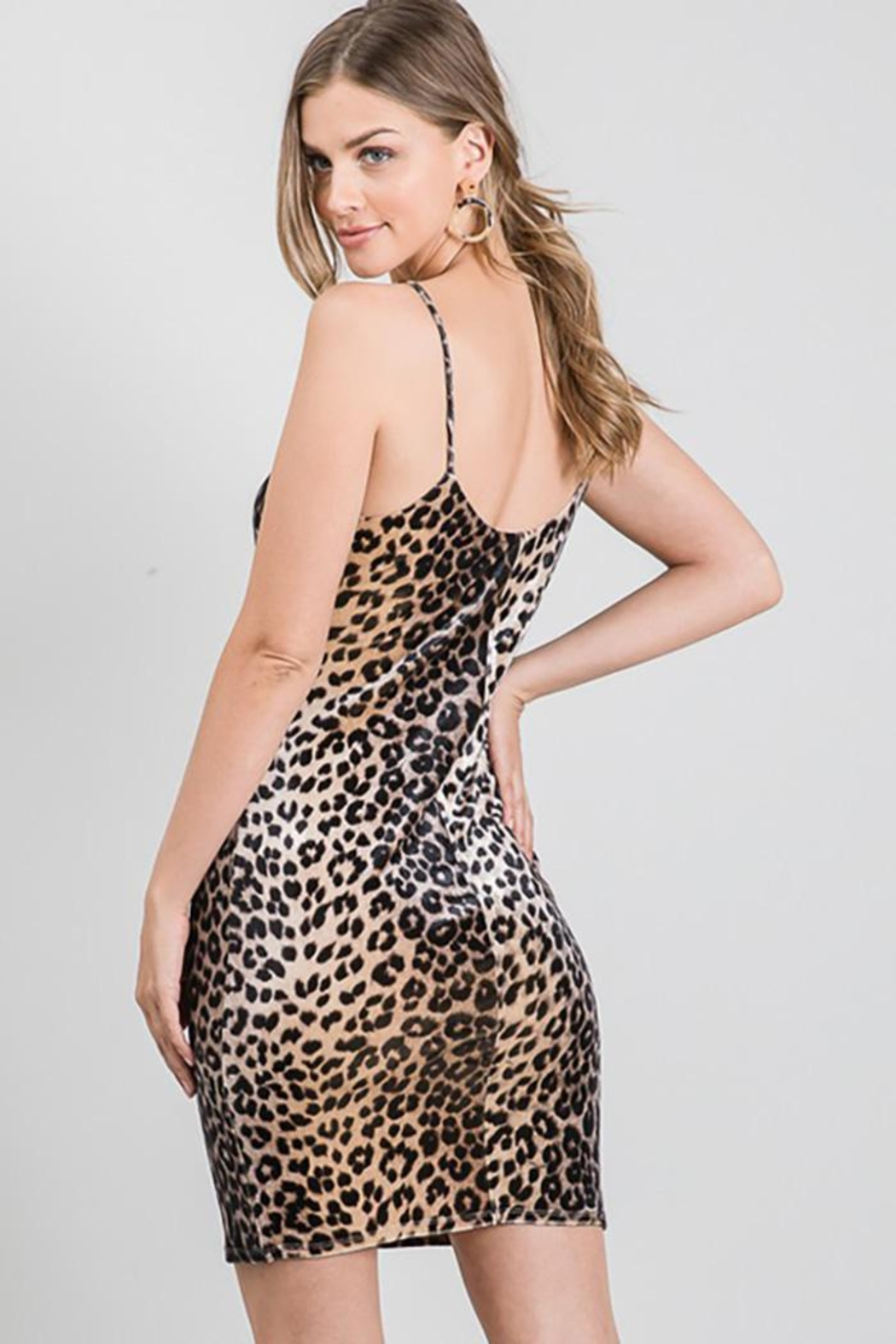 Must Have Leopard Print Velvet Sexy Evening Night Dress - Back Cropped Image