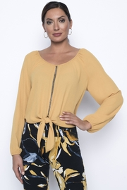 Frank Lyman Mustard blouse with tie front and gold crystals - Product Mini Image