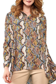 INSIGHT NYC Mustard/Brown/ Beige/ Blue Snake Skin Blouse - Product Mini Image