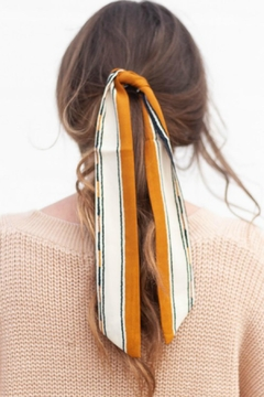 Shoptiques Product: Mustard Color-Block Hair-Scarf