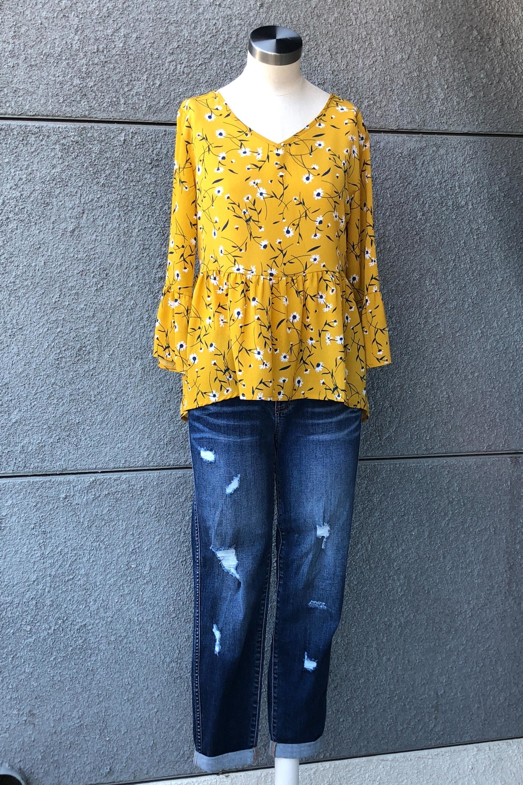 Miss Kelly Mustard Daisies Top - Front Full Image