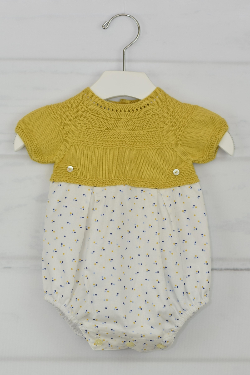 Granlei 1980 Mustard Dots Onesie - Front Cropped Image