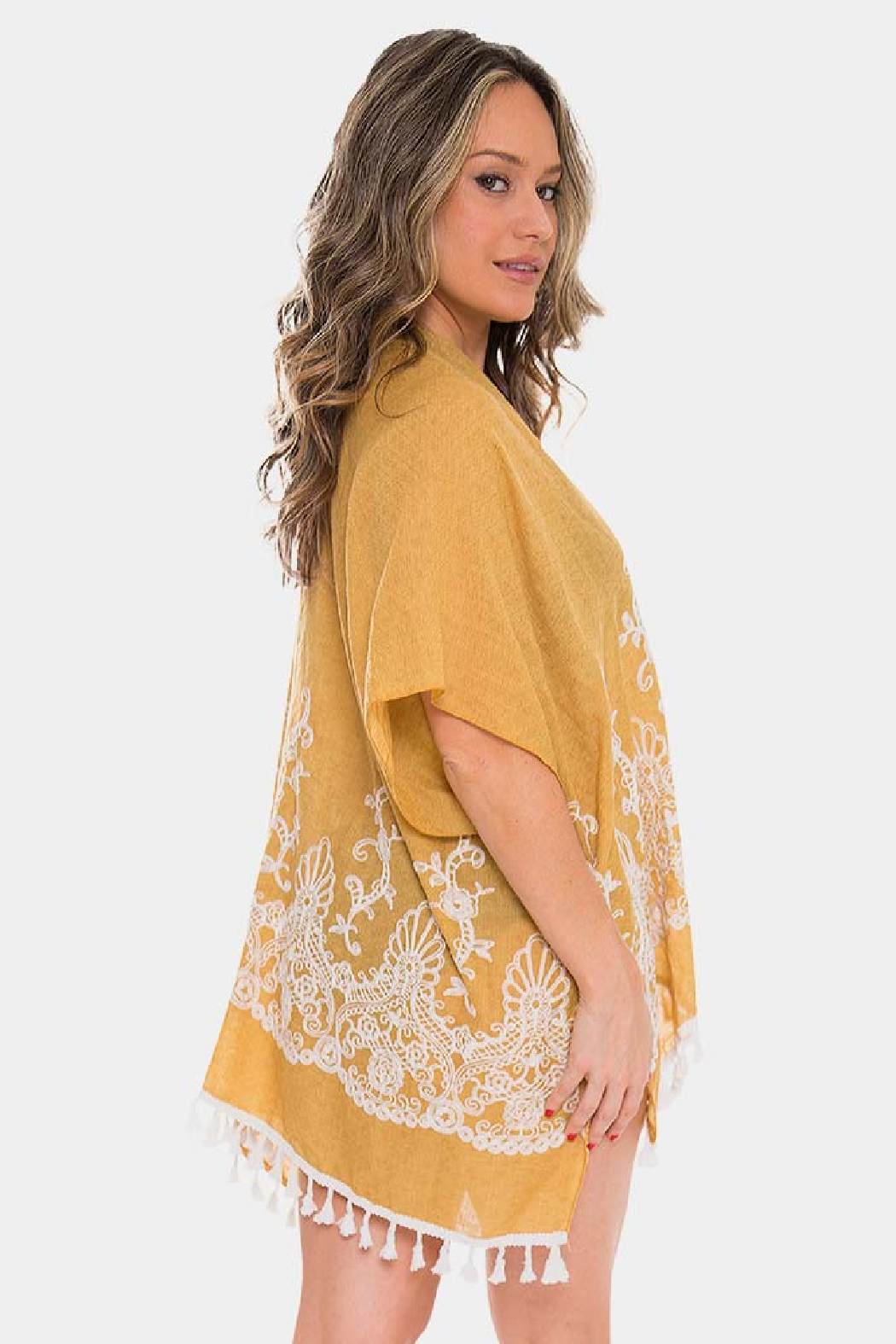 Janice Apparel Mustard Embroidered Kimono - Front Full Image