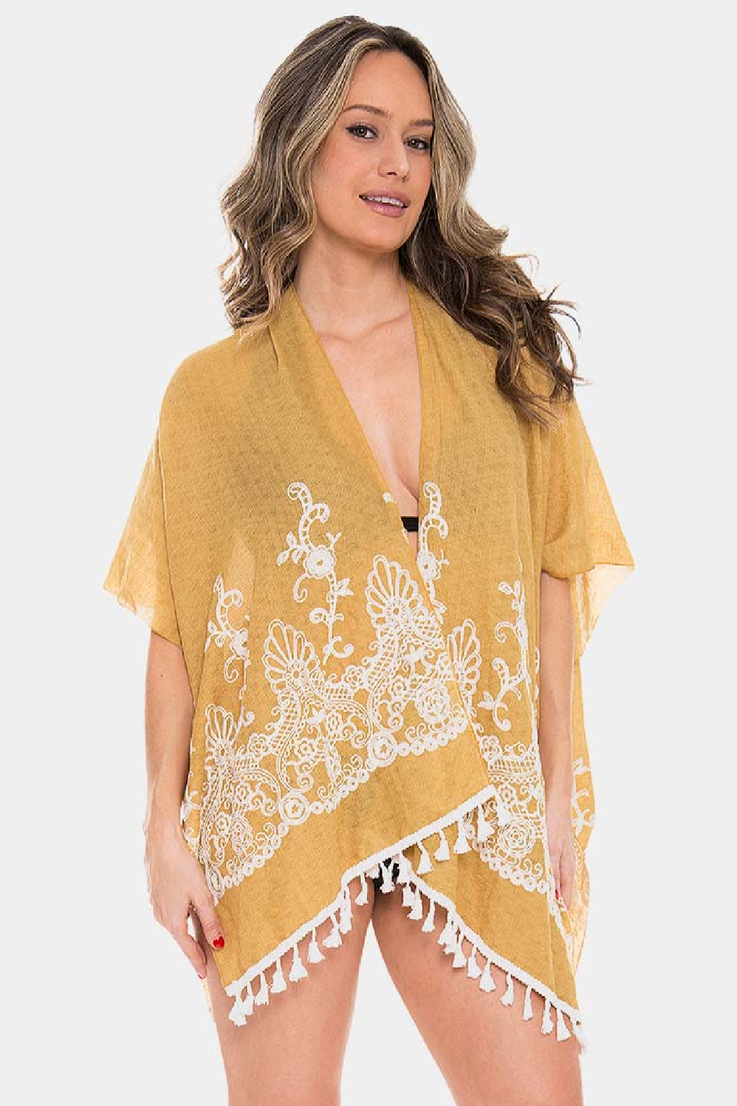 Janice Apparel Mustard Embroidered Kimono - Main Image