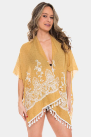 Janice Apparel Mustard Embroidered Kimono - Front cropped