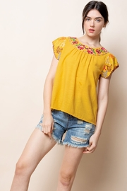 THML Clothing Mustard Embroidered Top - Product Mini Image