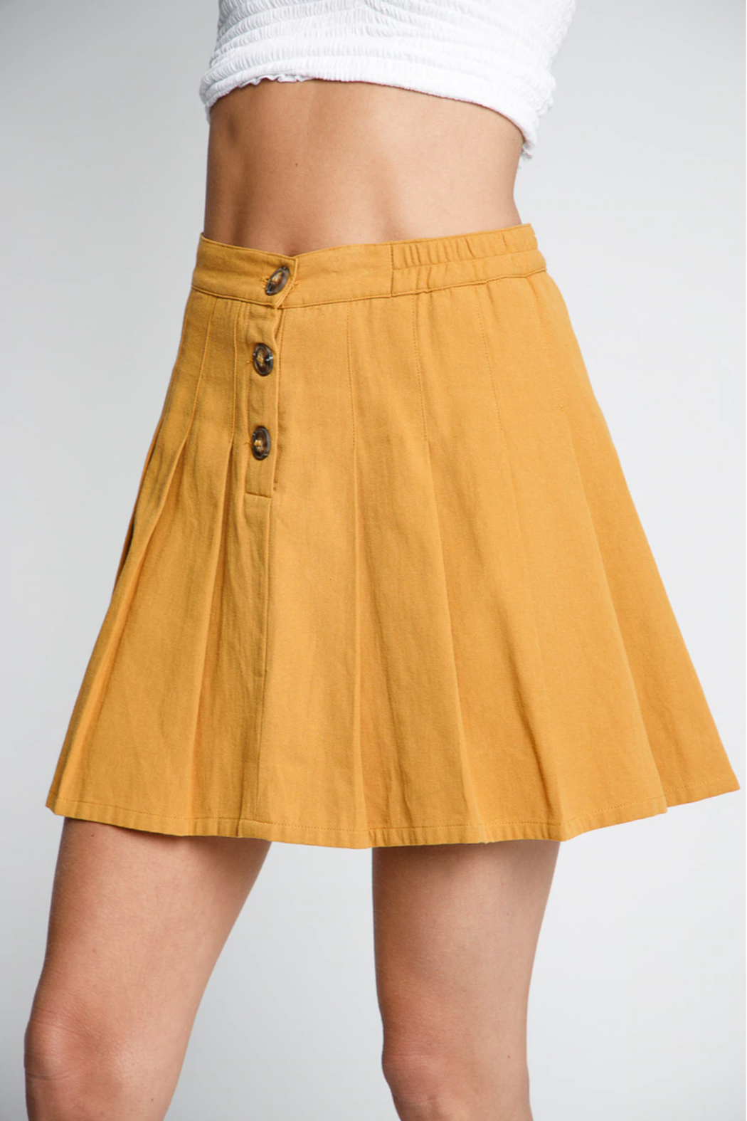 Wholesale Fashion Couture Mustard Fit n' Flare Skirt - Main Image
