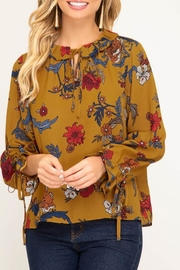 She + Sky Mustard Floral Blouse - Product Mini Image