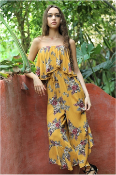 Angie Mustard Floral Strapless Jumpsuit - Product List Image