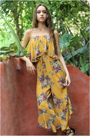 Angie Mustard Floral Strapless Jumpsuit - Product Mini Image