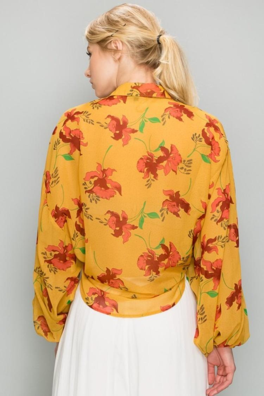AAKAA Mustard Floral Top - Side Cropped Image