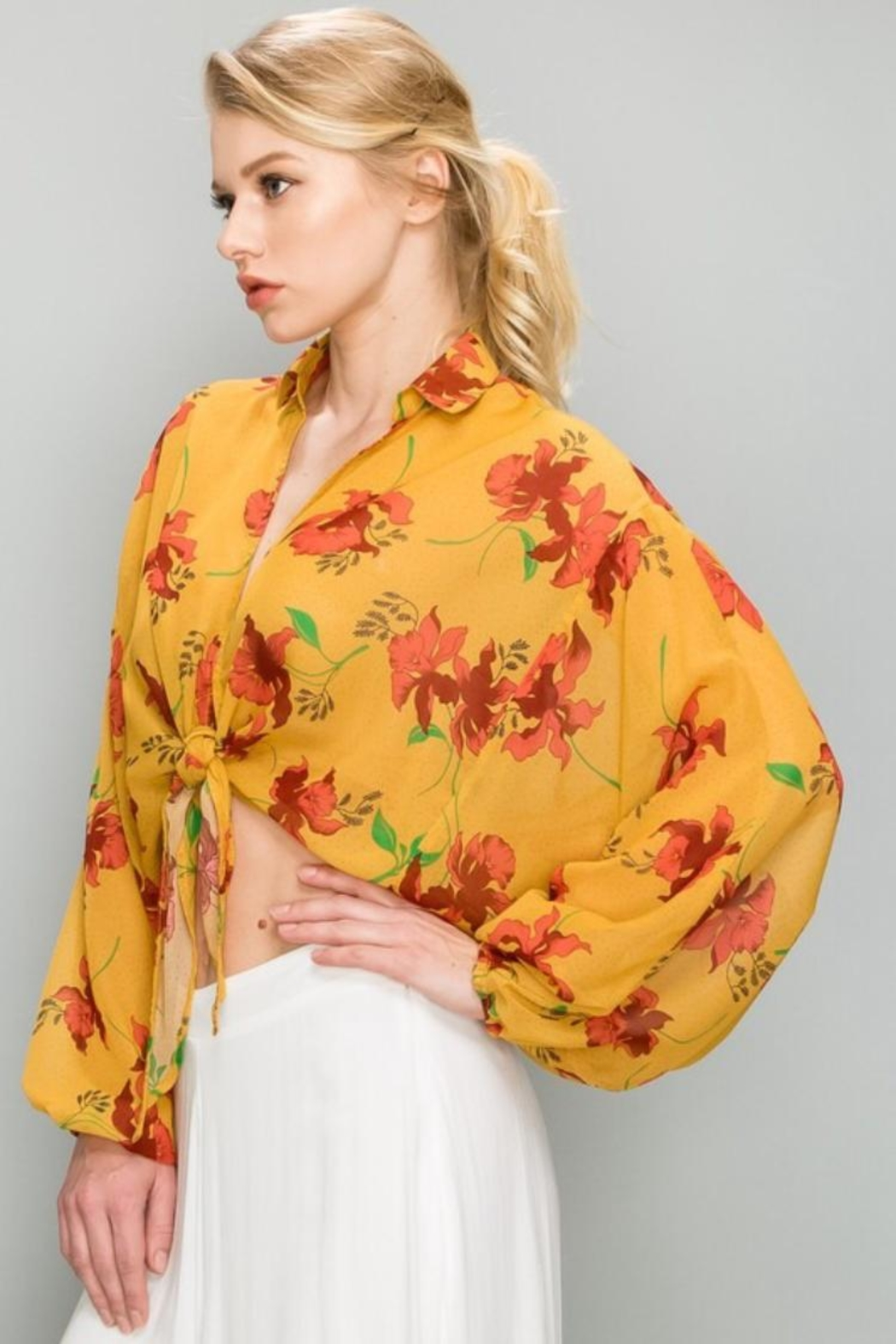 AAKAA Mustard Floral Top - Front Full Image