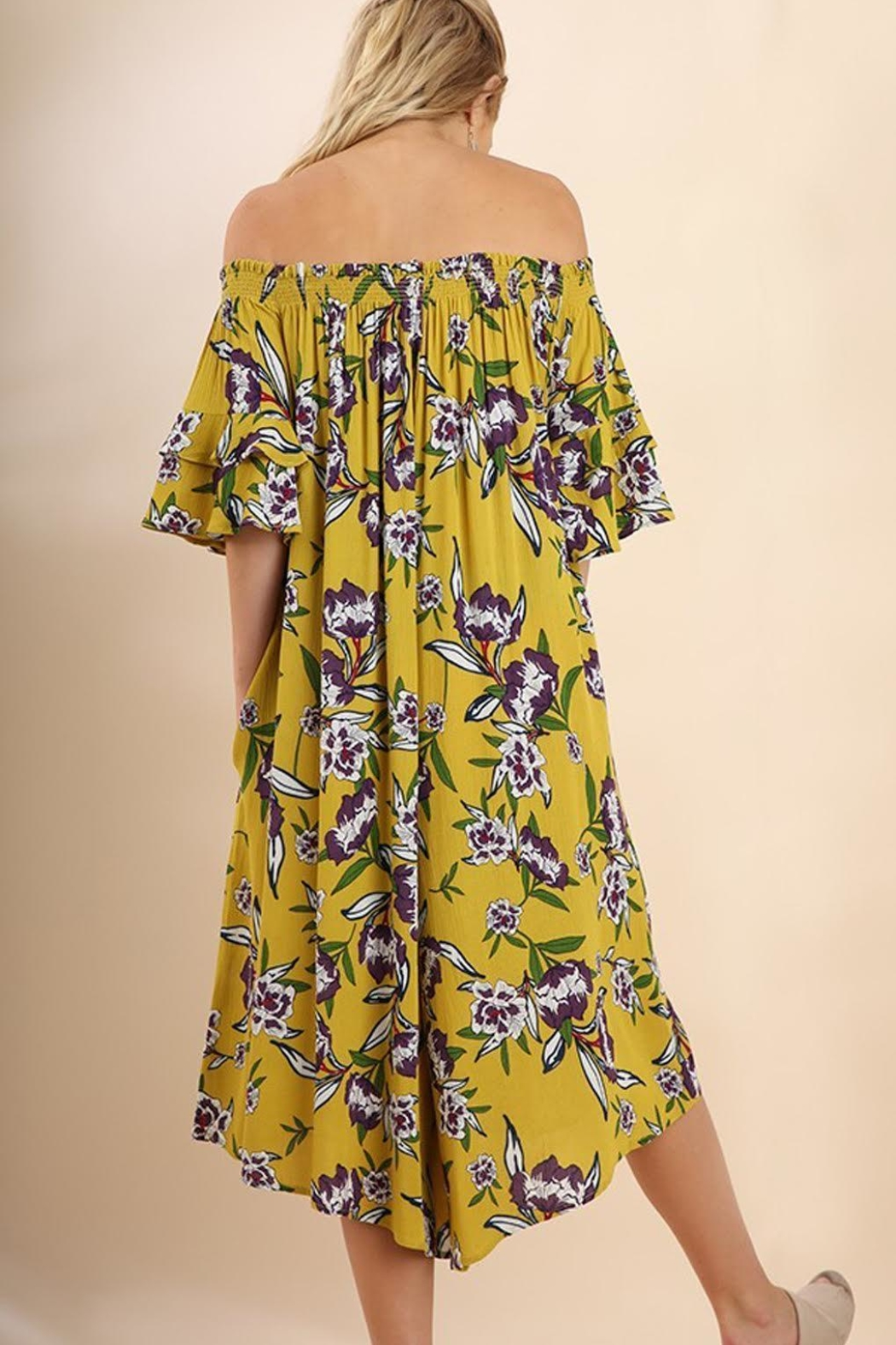 Umgee USA Mustard-Floral Wide-Leg Jumpsuit - Side Cropped Image