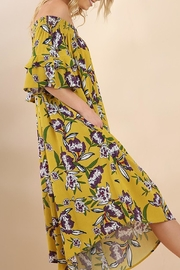 Umgee USA Mustard-Floral Wide-Leg Jumpsuit - Front full body