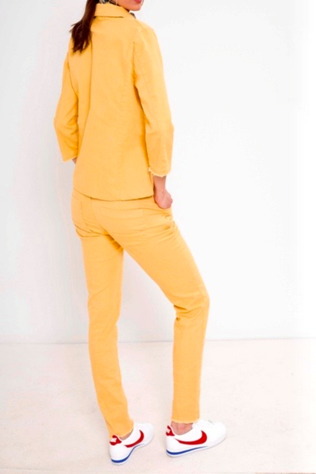 Bianco Jeans Mustard Girlfriend Ankle Jeans - Front Full Image