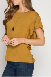 She + Sky Mustard Lace-Up Top - Product Mini Image