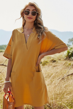 Esley Collection Mustard Mini Dress - Product List Image