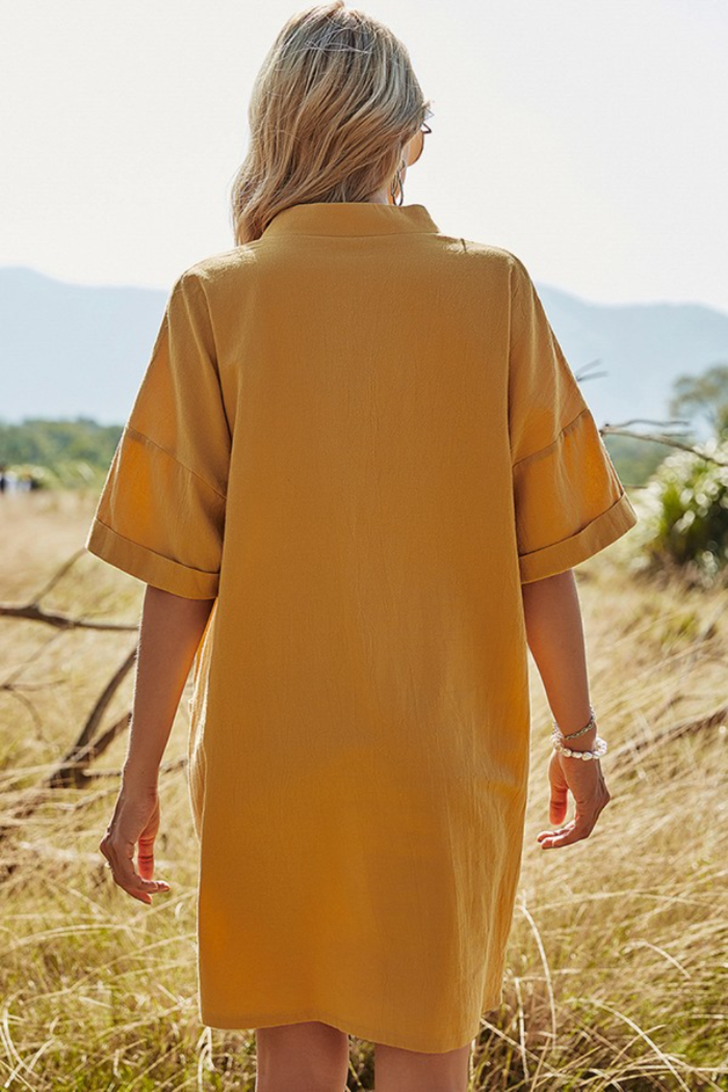 Esley Collection Mustard Mini Dress - Front Full Image