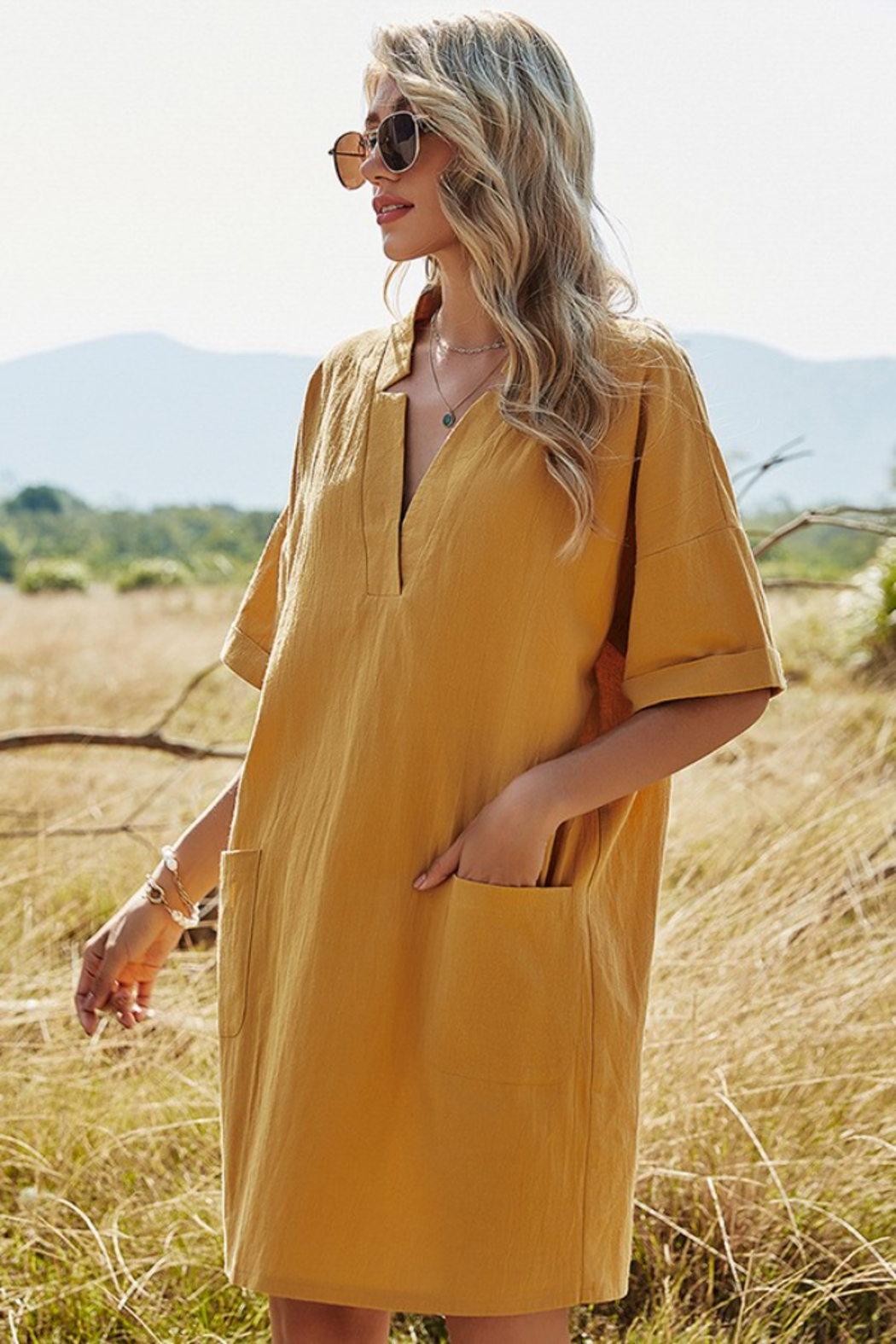 Esley Collection Mustard Mini Dress - Side Cropped Image