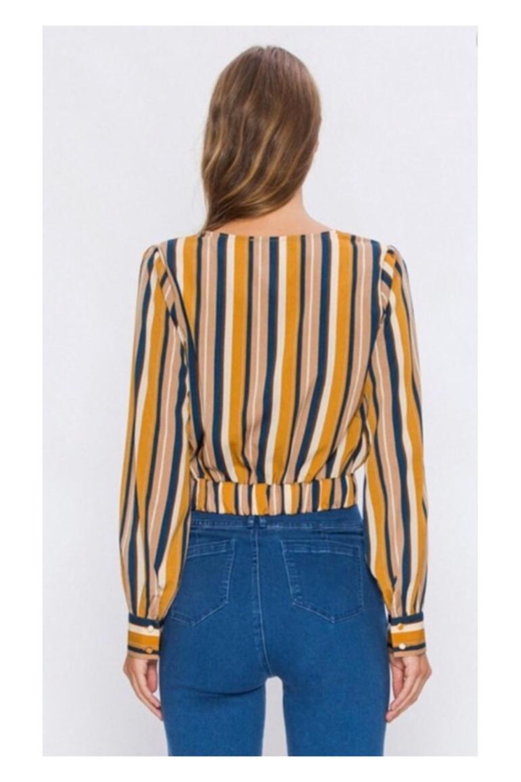 Polly & Esther Mustard/navy Stripe Top - Front Full Image