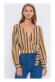 Polly & Esther Mustard/navy Stripe Top - Product Mini Image