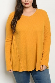 Lyn-Maree's  Mustard Plus Waffle Top - Front cropped
