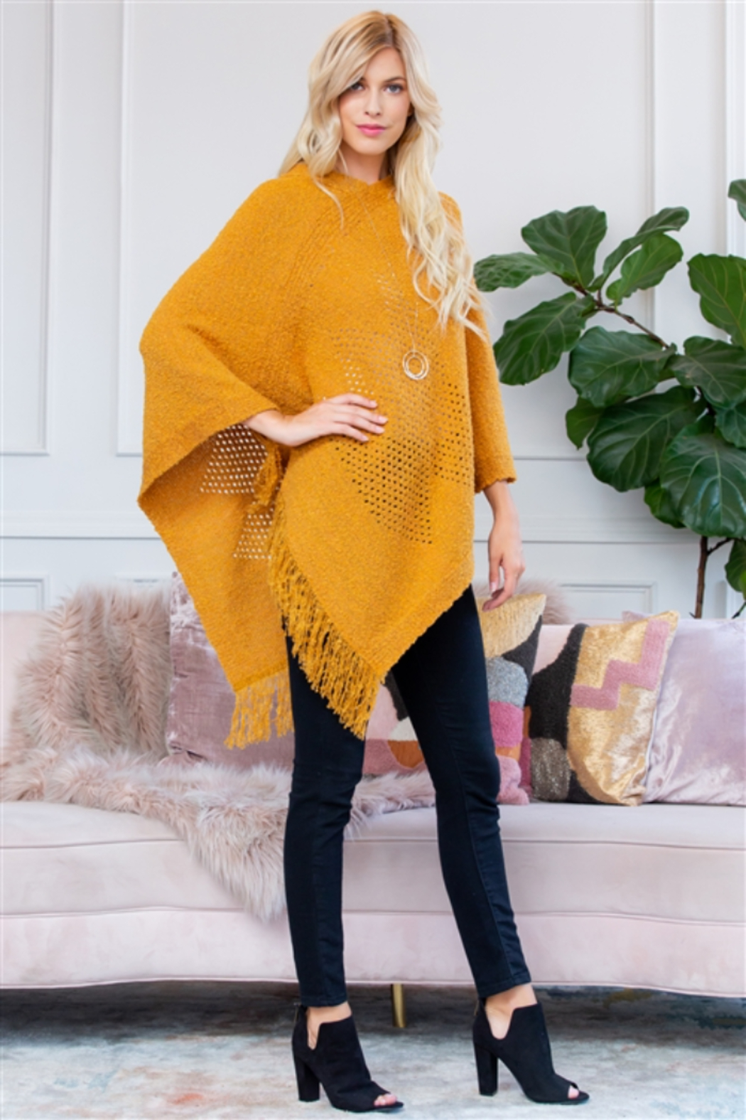 Apparel Mustard Poncho - Front Full Image
