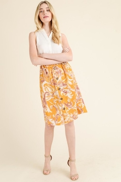 Les Amis Mustard Print Skirt - Alternate List Image
