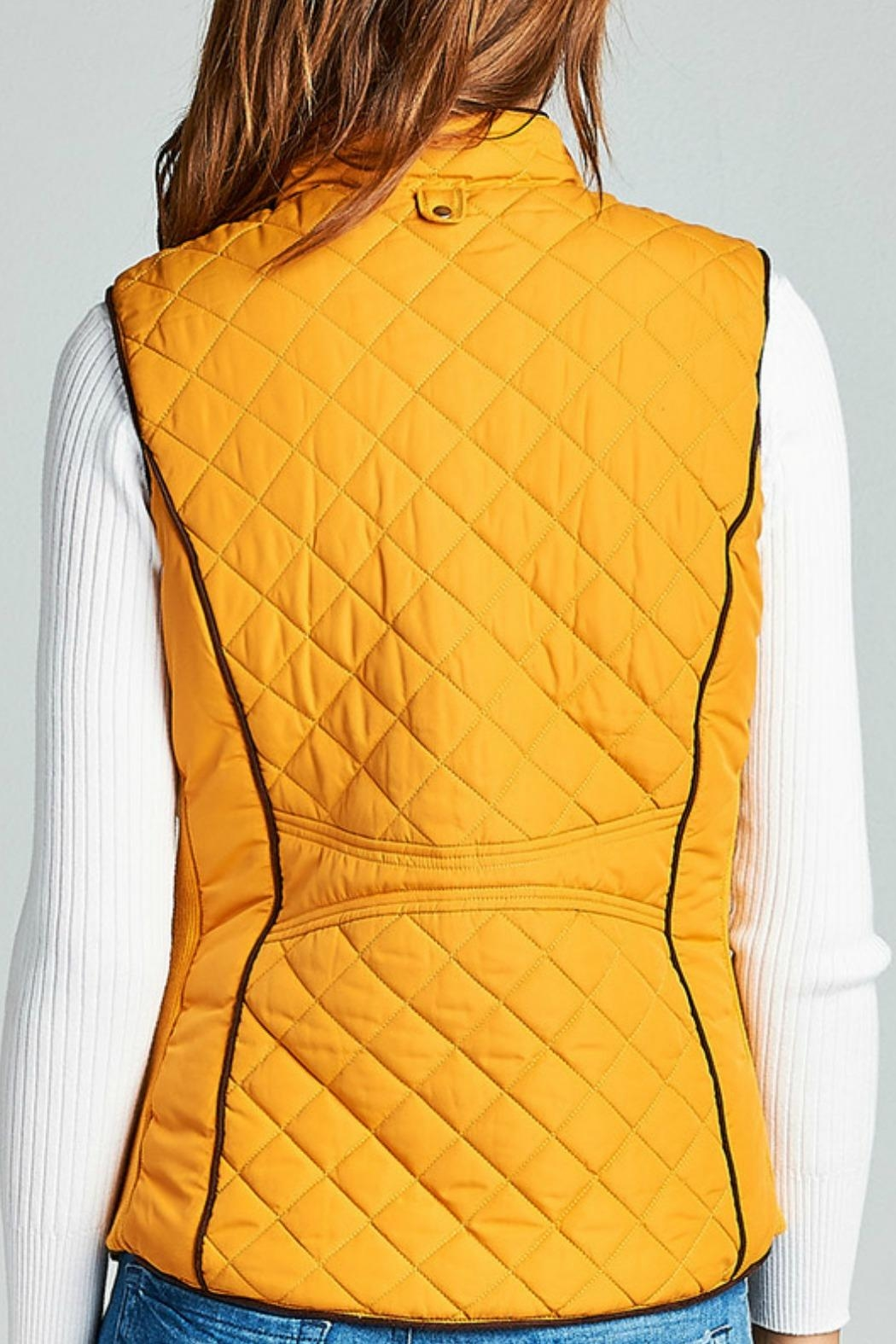 Active Basic Mustard Quilted Vest - Front Full Image