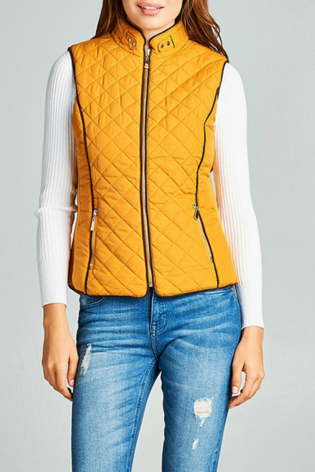 Active Basic Mustard Quilted Vest - Main Image