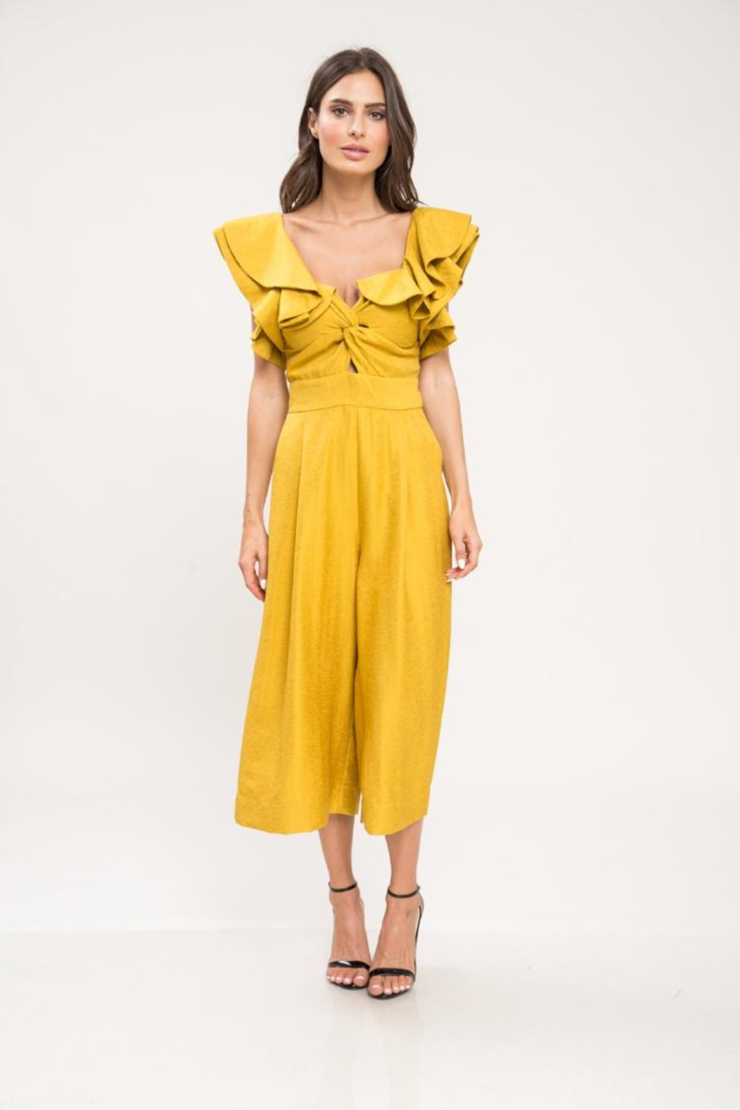 c7c885ba53a Latiste Mustard Ruffle Jumpsuit from Los Angeles by Chikas — Shoptiques
