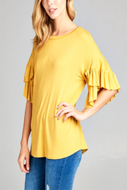 E Luna Mustard Ruffle Sleeve Top - Product Mini Image
