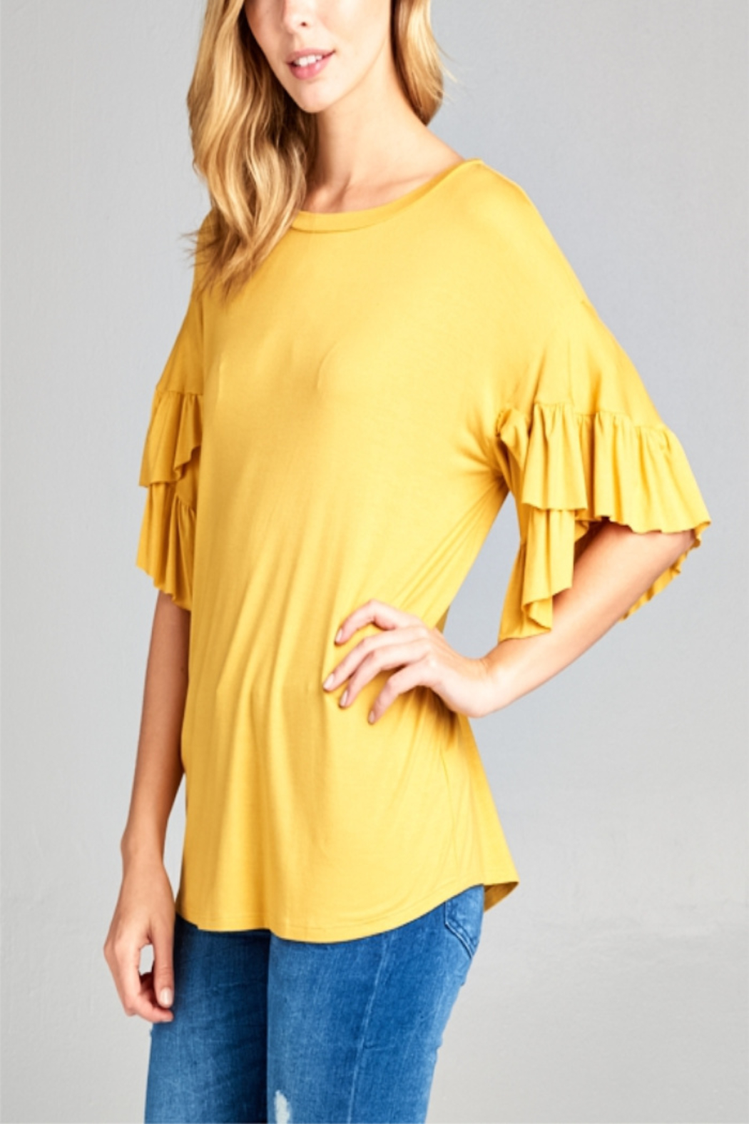 0bc97f6c926ab E Luna Mustard Ruffle Sleeve Top from Indiana by Lyn-Maree s ...