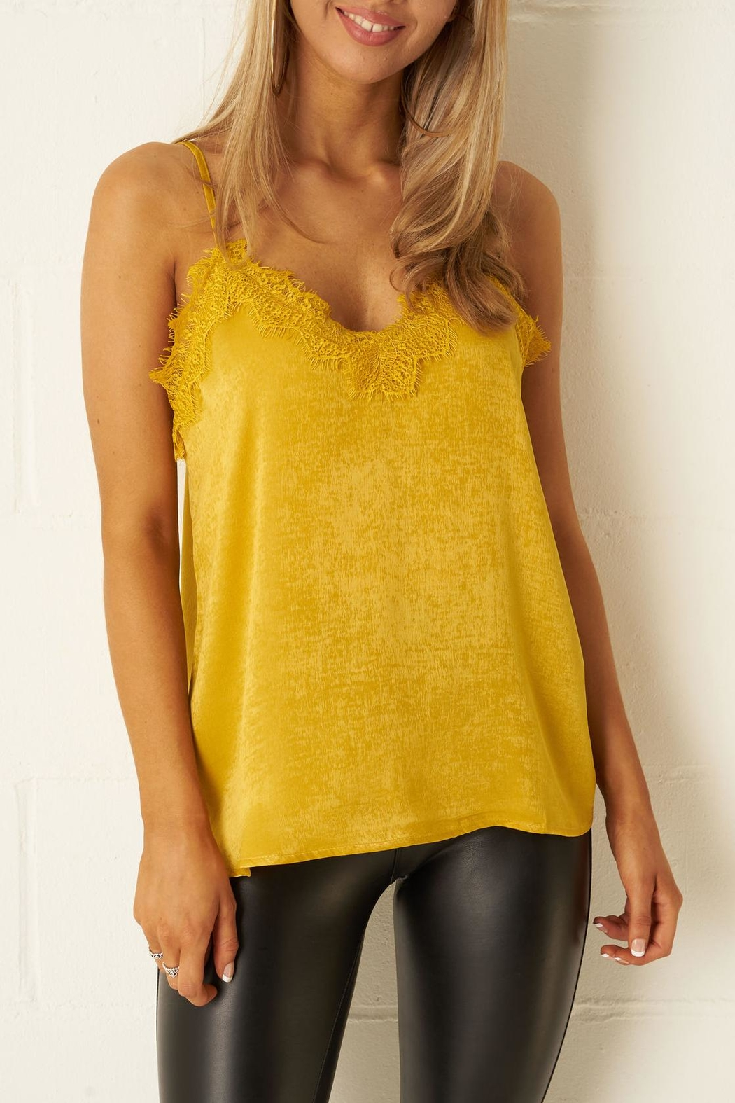 bec8fea5522082 frontrow Mustard Satin-Cami Top from Essex by Frontrow — Shoptiques