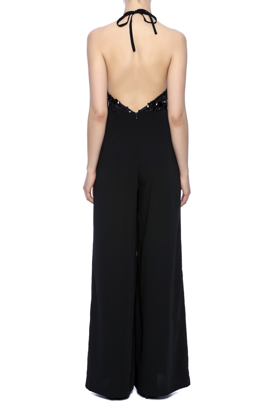 Mustard Seed Bejeweled Black Jumpsuit - Back Cropped Image
