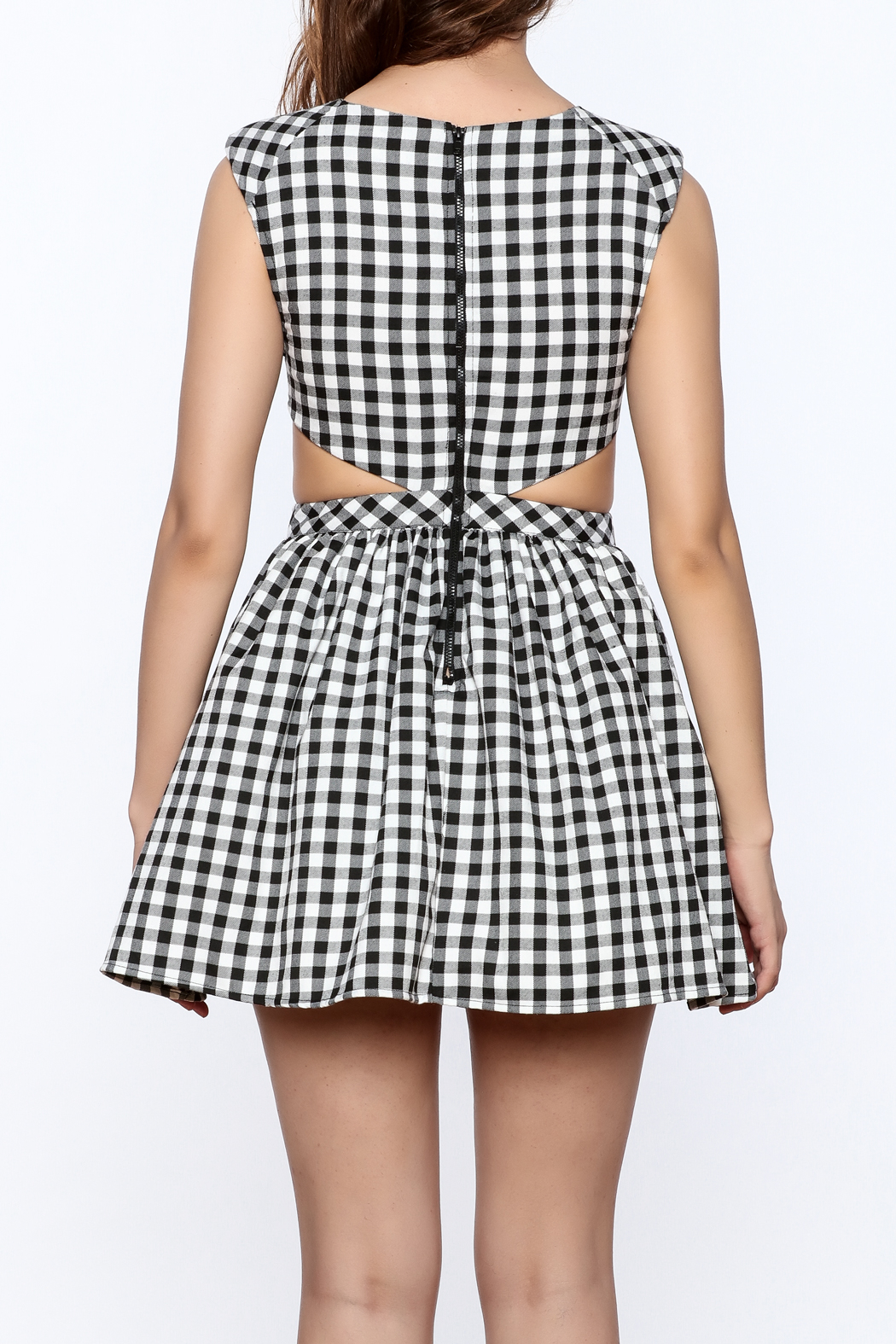 Mustard Seed Check Flared Dress - Back Cropped Image