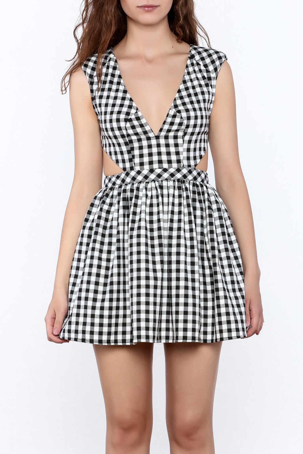 Mustard Seed Check Flared Dress - Side Cropped Image