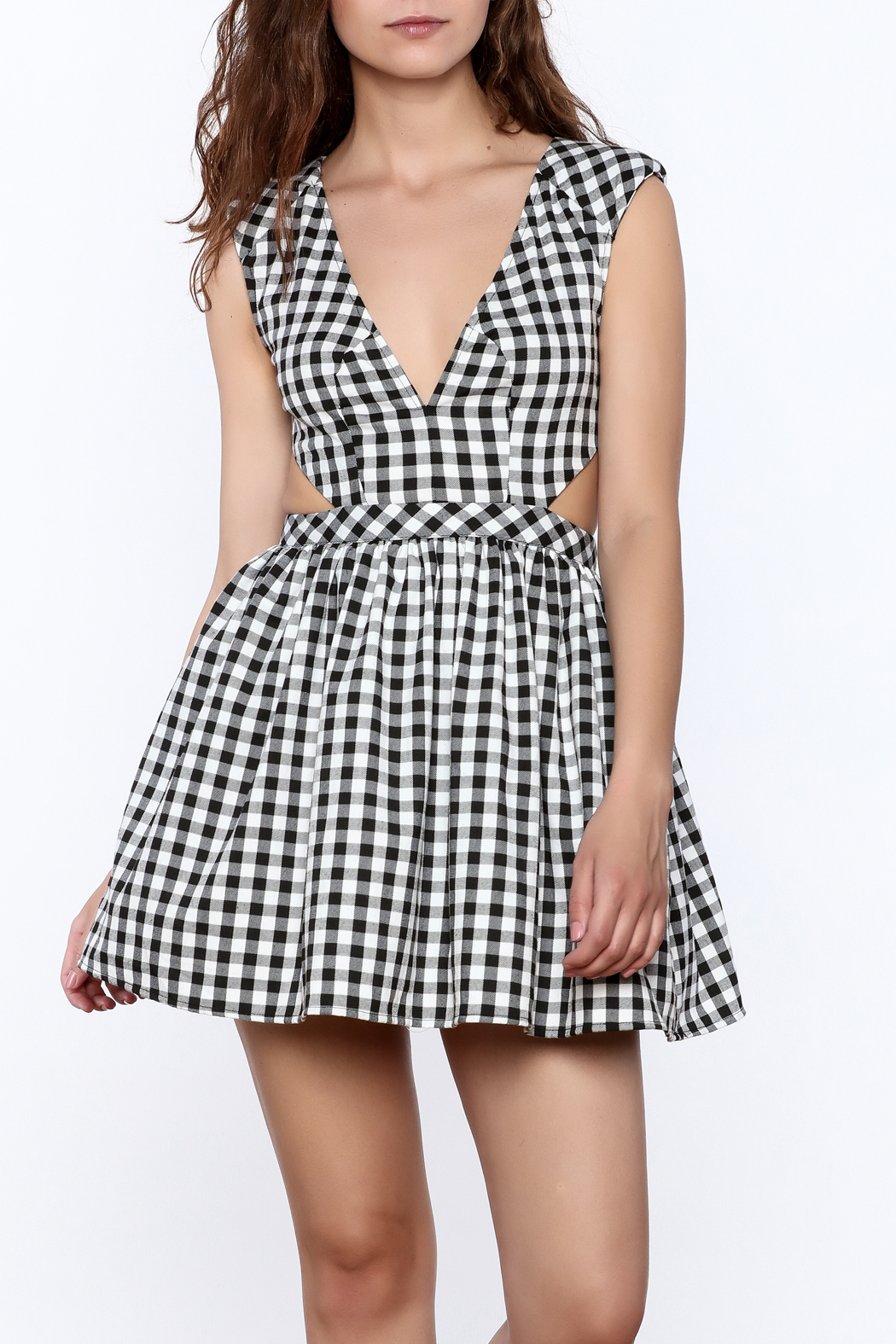 Mustard Seed Check Flared Dress - Front Cropped Image